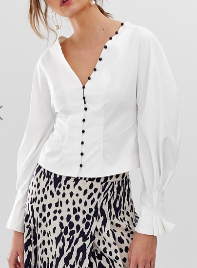 Ghospell button down shirt with volume sleeves
