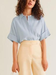 Mango Buttoned textured blouse