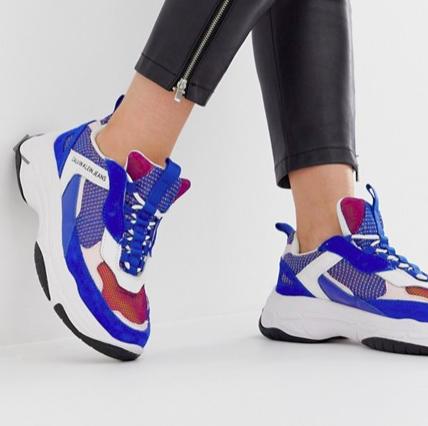 Calvin Klein Maya blue multi suede chunky sneakers