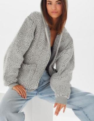 UO Brea Fleece Hooded Zip-Up Jacket