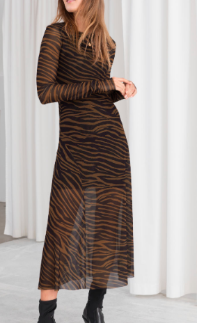 Stories Sheer Zebra Midi Dress