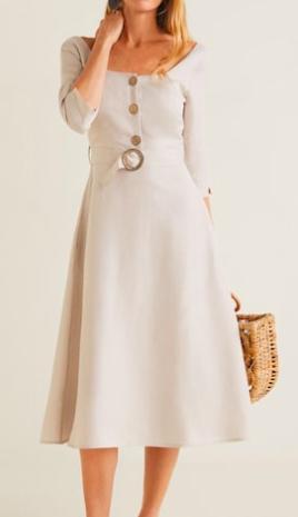 Mango Belt linen dress