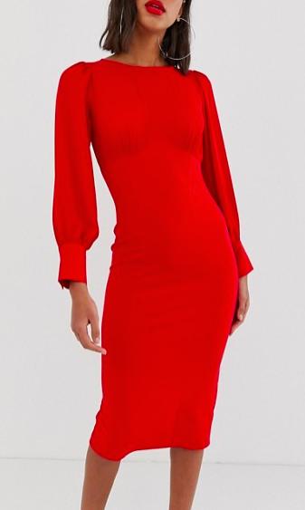 ASOS DESIGN woven mix midi pencil dress