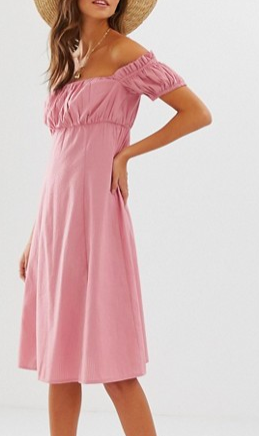 ASOS DESIGN off shoulder midi sundress with ruched bust