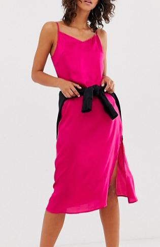 Na-kd satin slip day dress in pink