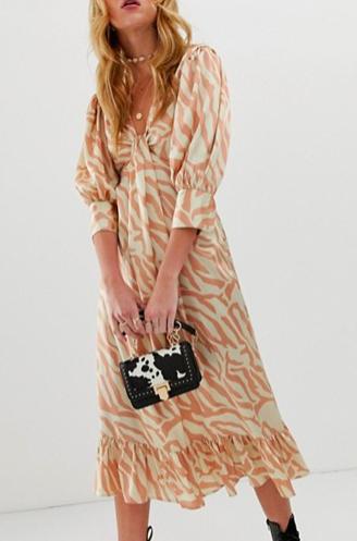 ASOS DESIGN knot front midi dress in natural zebra print