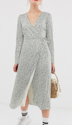 Glamorous midi wrap dress in olive print