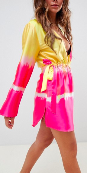 ASOS DESIGN channel waist beach cover up in ombre tie dye