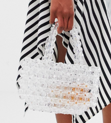Glamorous clear beaded grab bag