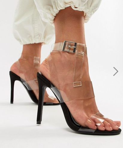 Boohoo clear strap heeled sandal in black