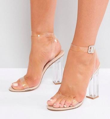 Public Desire Alia Clear Perspex Heeled Sandals