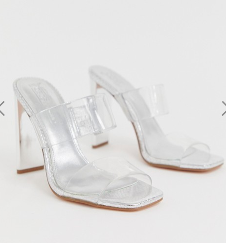 ASOS DESIGN Hayward clear block heeled mule