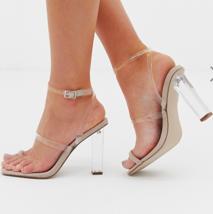 ASOS DESIGN Herald clear barley there Block Heeled Sandals