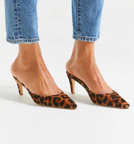 UO Leopard Kitten Heel Mule