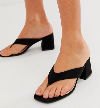 Public Desire Because toe post block heeled mules