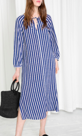 Stories Striped Billowy Kaftan Dress