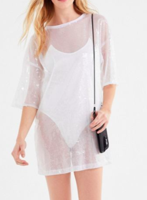 Motel Sunny Kiss Sparkly Sheer Tunic Top