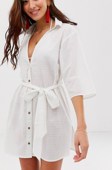 ASOS DESIGN beach shirt with tie waist in textured fabric