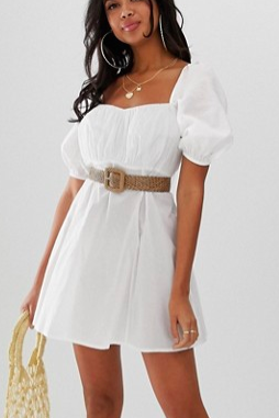 ASOS DESIGN beach milkmaid dress with natural belt