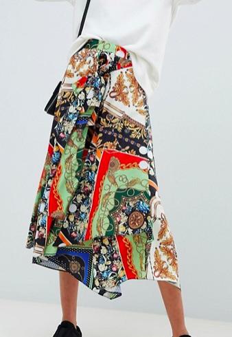 ASOS DESIGN mixed scarf print midi skirt