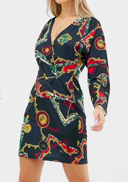 Reclaimed Vintage inspired mini wrap dress in scarf print