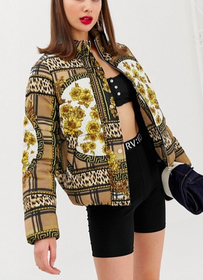 River Island padded jacket in scarf print