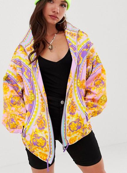 ASOS DESIGN scarf printed bomber jacket