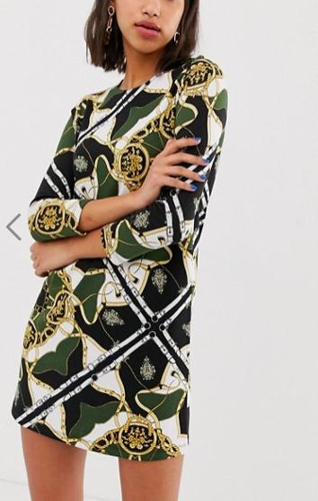 Stradivarius swing dress in scarf print
