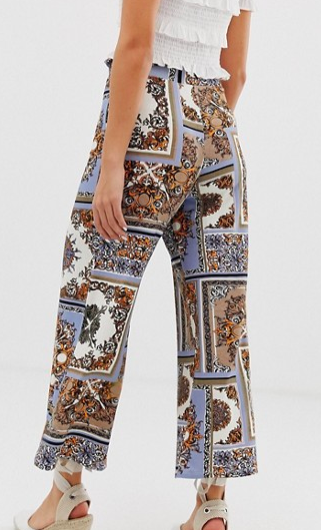 ASOS DESIGN cropped pants with paper bag tie waist in scarf print