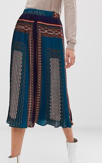 Pieces scarf print pleated midi skirt