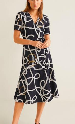 Mango Scarf-print long dress