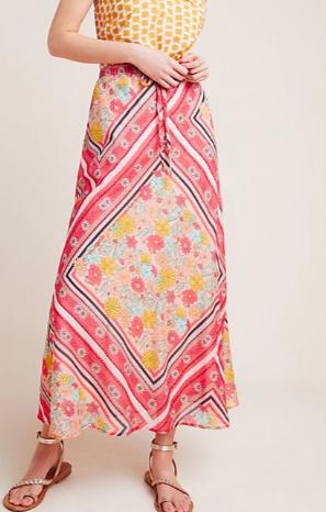 LAIA Victoria Scarf-Printed Midi Skirt