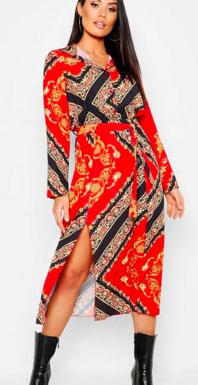 Boohoo Woven Floral Scarf Print Midi Shirt Dress