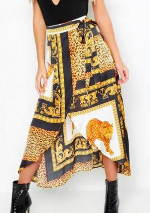 Boohoo Chain Scarf satin Print Wrap Midaxi Skirt
