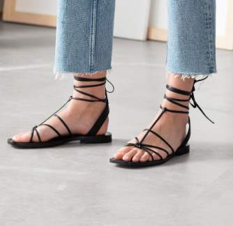 Stories DESIGNED IN STOCKHOLM  Knotted Leather Lace Up Sandals