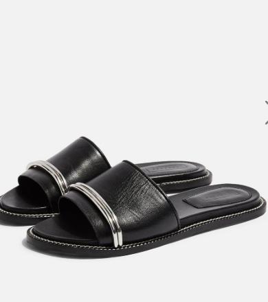 Topshop FLASH Black Bar Sandals