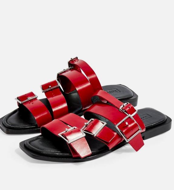 Topshop FELIX Red Buckle Sandals