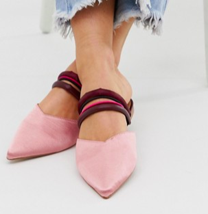 ASOS DESIGN Leading Light pointed mules in pink