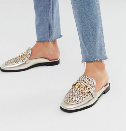 River Island woven mules with metal trim in gold