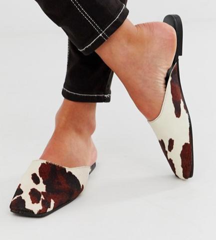 Mango cow print effect leather slip on mule in brown