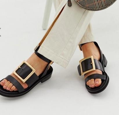 ASOS DESIGN Forever leather flat sandals