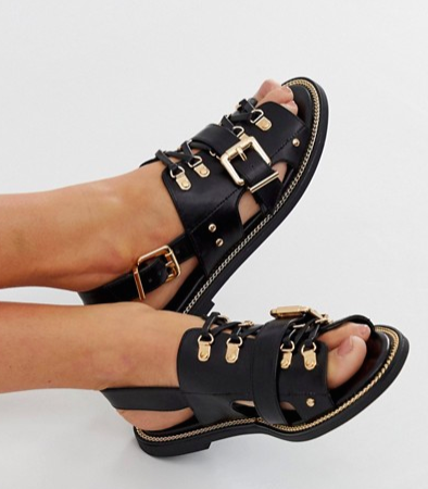 River Island flat sandals with buckle detail in black