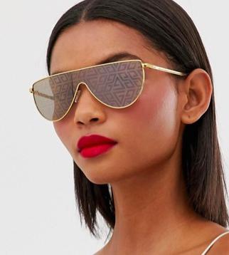 ASOS DESIGN visor fashion glasses with monogram print lens