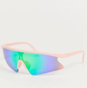 ASOS DESIGN pink wrap half frame visor sunglasses with blue flash lens