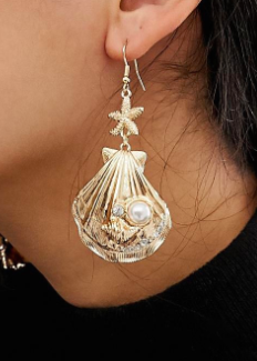 ASOS DESIGN earrings in sea shell design with pearl in gold