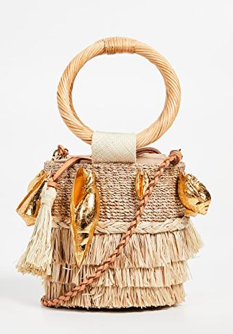 ARANAZ Nona Mini Fringe Bucket Bag