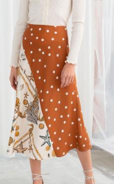 Stories Polka Dot Seashell Satin Midi Skirt
