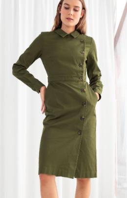 Stories Cotton Utilitarian Midi Dress