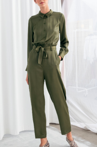 Stories Belted Satin Boilersuit