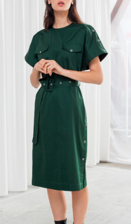STORIES Belted Cotton Workwear Dress